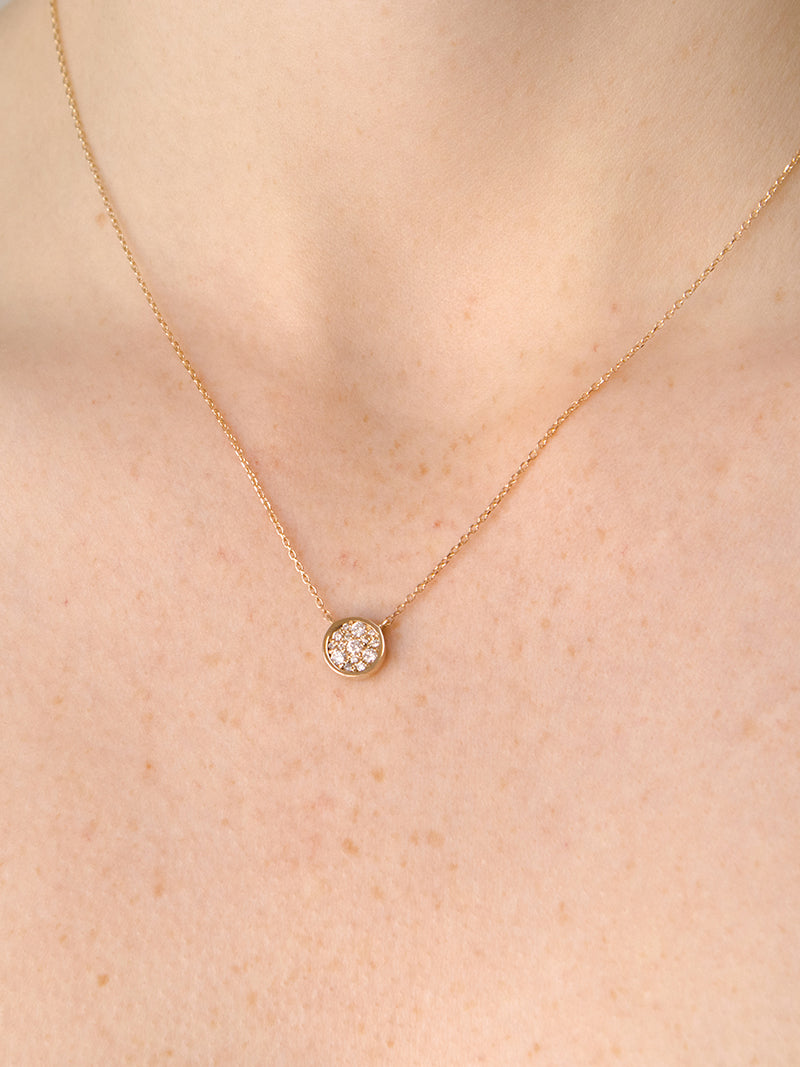 Round Cléo pavé necklace