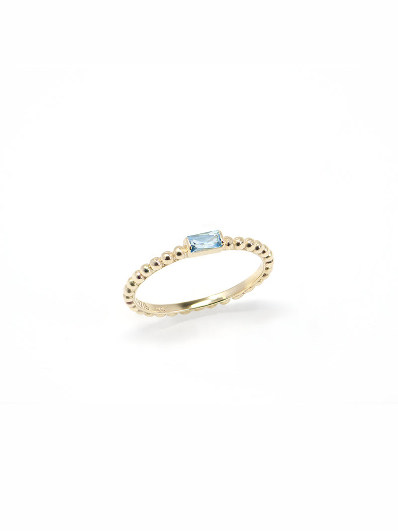 Dew Drop Baguette Stackable Ring