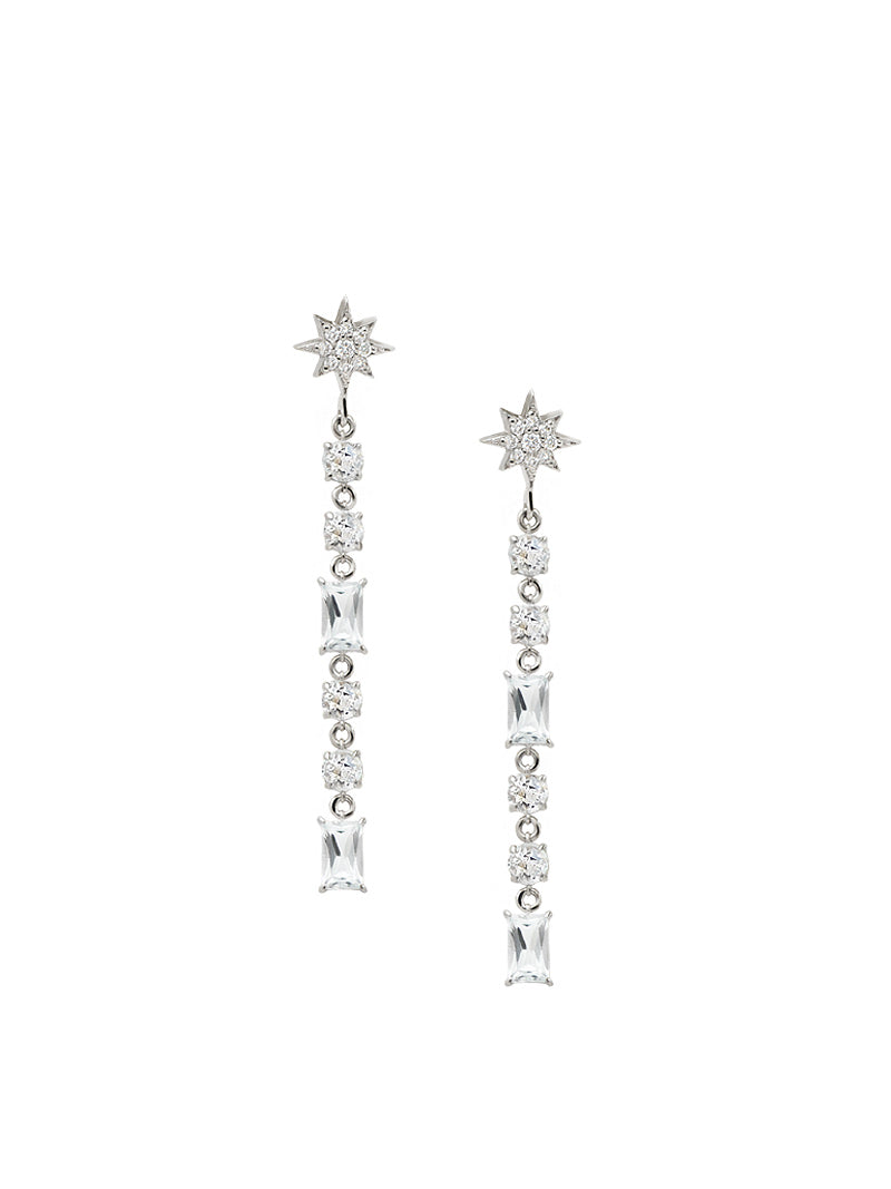 Aztec North Star Linear Baguette Earrings