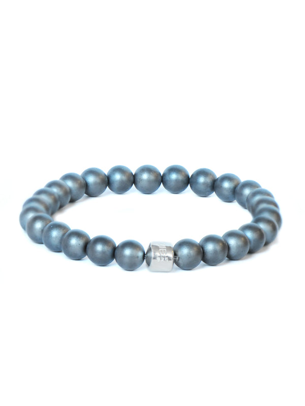 Men's Bohème Anzie Closure Frosted Hematite Bracelet