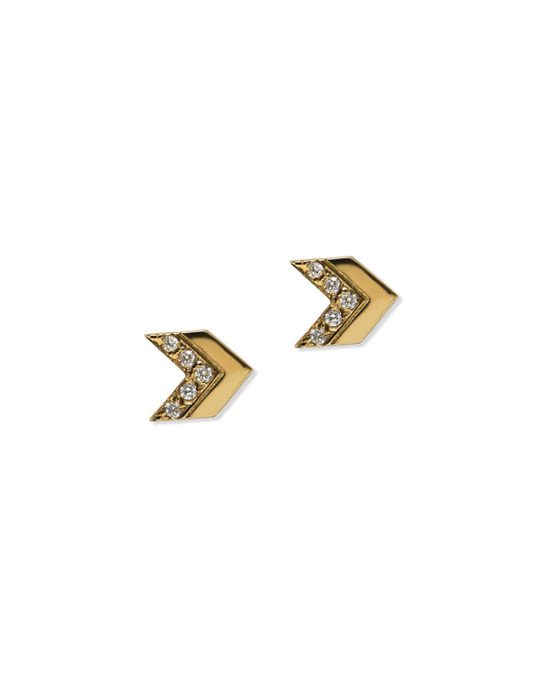 Jac+Jo Arrow Pavé Chevron Studs