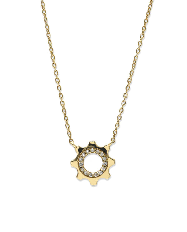 Jac+Jo Cog Mini Pavé Necklace