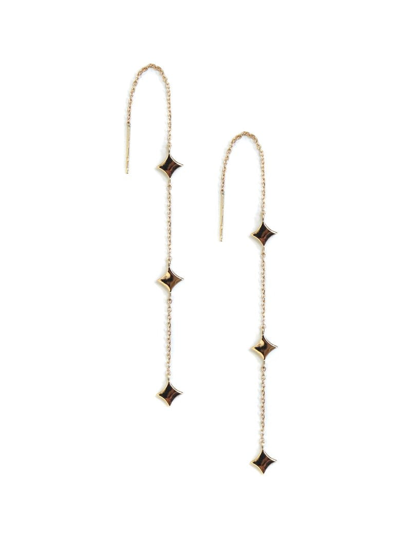 Jac+Jo Gothic Diamond Solid Station Threader Earrings