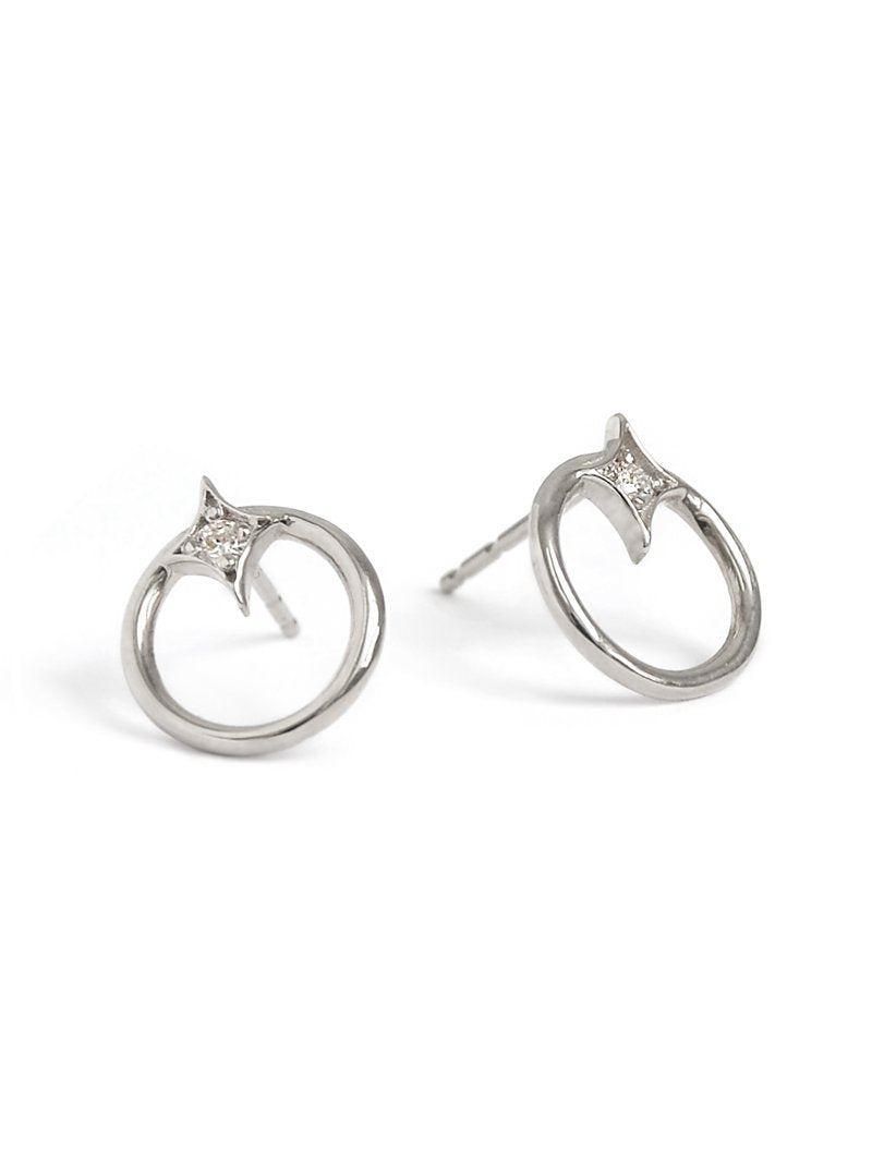 Jac+Jo Gothic Diamond Open Circle Studs