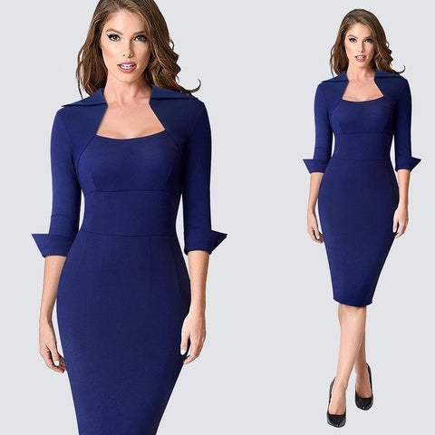 Autumn  Women Formal  Slim Dress