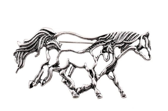 Mare and Foal Stock Tie Pin