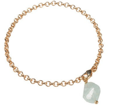 Belcher Bracelet with Gemstone Charm