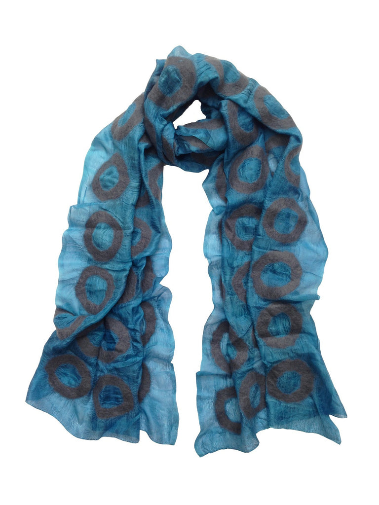 Blue and Grey 'Jer' Silk Scarf