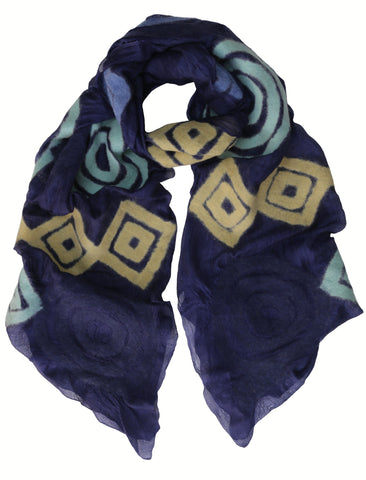 'Geometric Connection' Silk Scarf in Blues