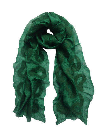 Dark Green Seed Silk Scarf