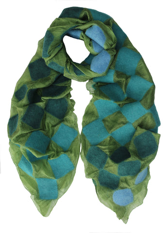 'Graduating Connection' Silk Scarf in Greens