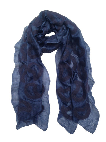 Ink Blue Seed Silk Scarf