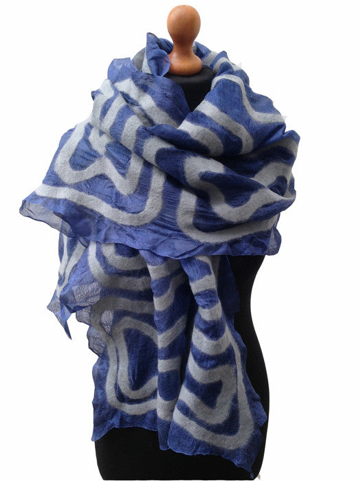 Blue Silk Scarf with Grey Gelt Swirl Pattern