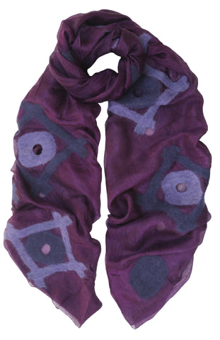 'Spirit' Silk Scarf in Purples