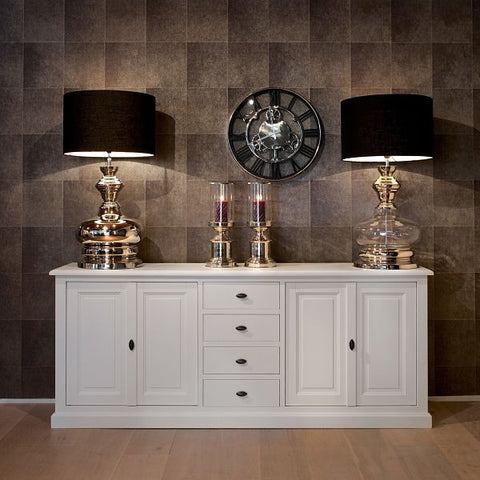 Windsor Large White Sideboard with table lamps and wall clock
