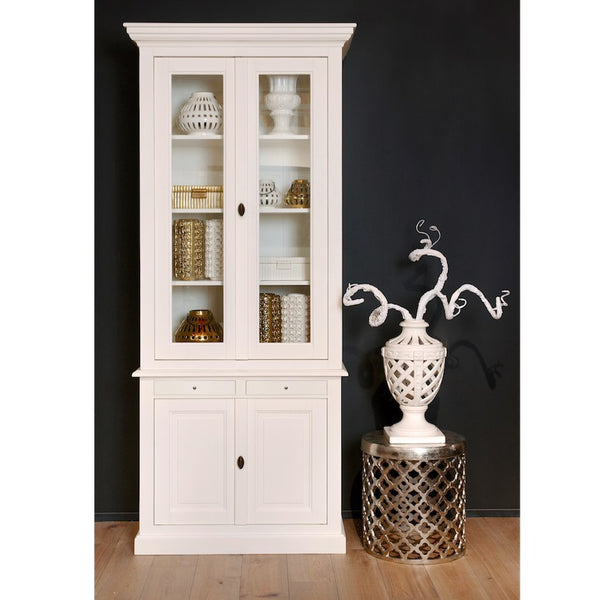 Windsor Medium White Glass Cabinet