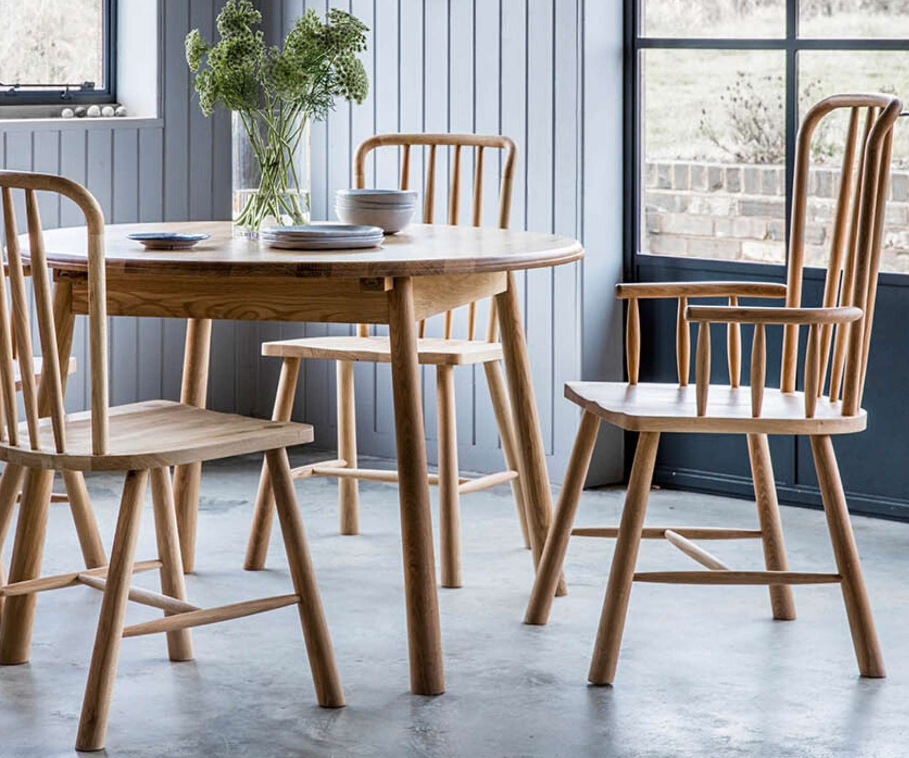 Scandi style round table and chairs