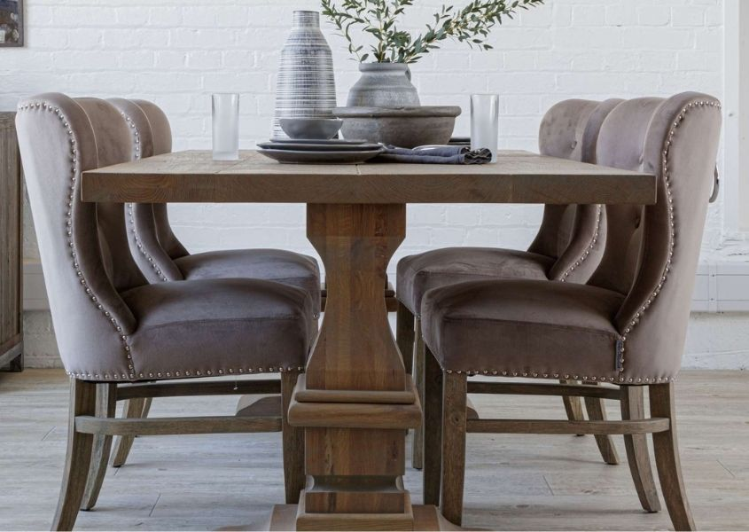 Colette reclaimed wood dining table and fabric dining chairs
