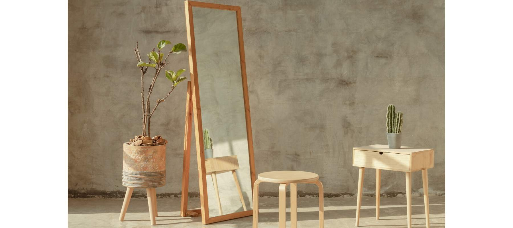 Large wooden floor standing mirror with stool and side table