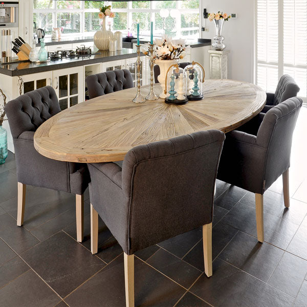 Abbey Oval Reclaimed Wood Dining Table in Kitchen