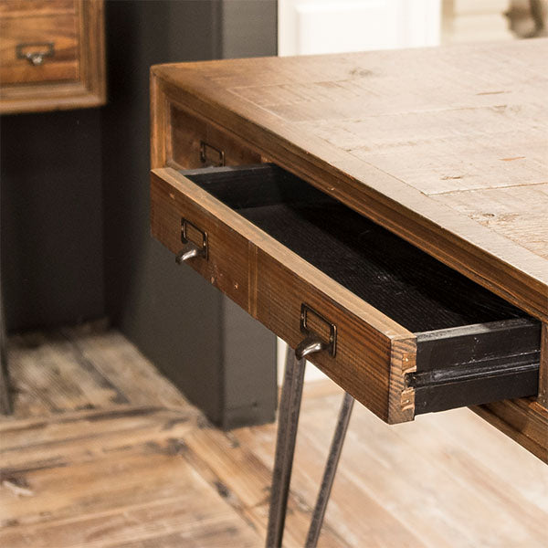 Barclay Reclaimed Wood Dining Table open Drawer