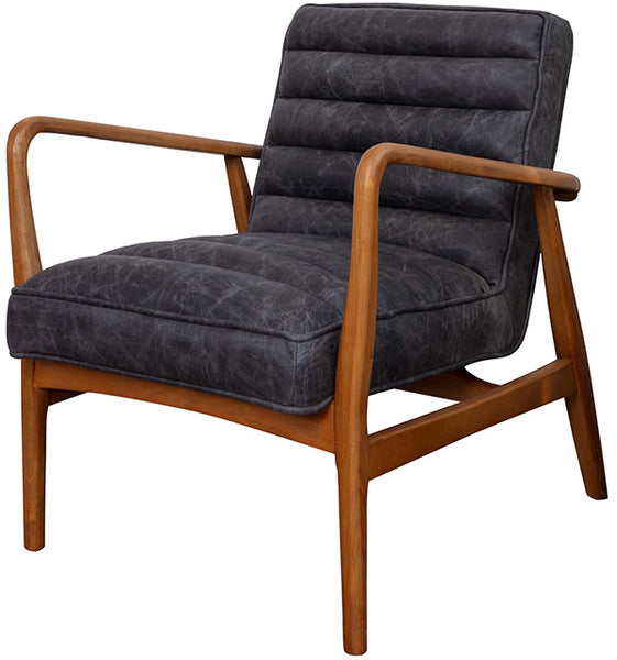Danish style mid-century modern armchair in brown wood with a ribbed, cushioned back