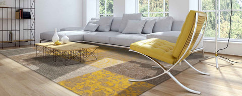 Louis De Poortere Vintage Patchwork Yellow Rug in Living Room