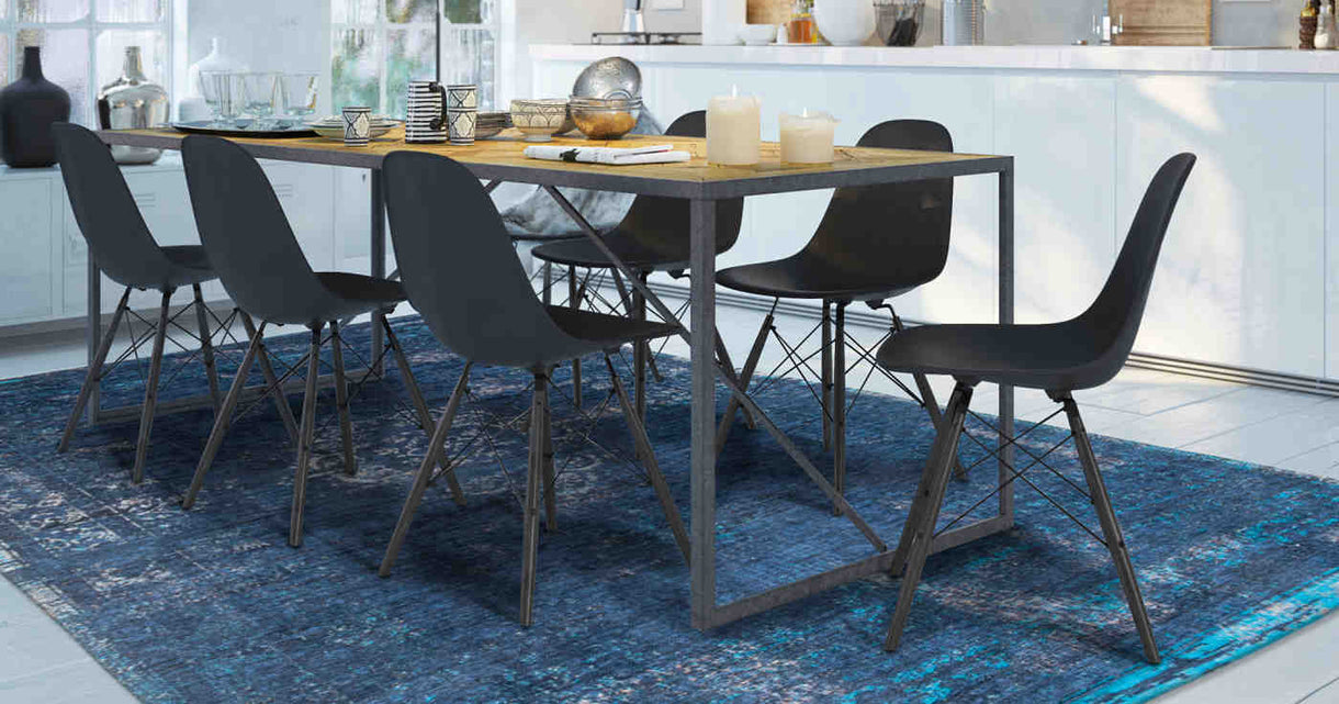 Louis de Poortere Blue Night Rug in Dining Room