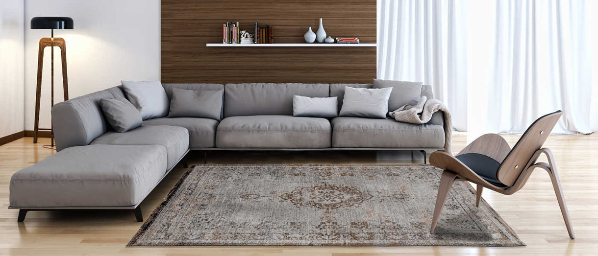 Louis De Poortere Grey Rug in Living Room
