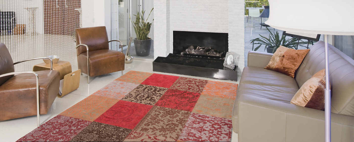 Louis De Poortere Foliage Patchwork Rug in Living Room