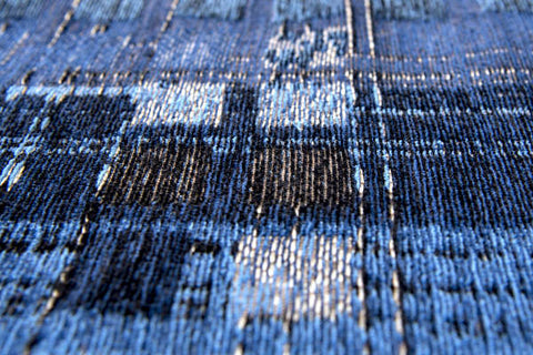 Louis De Poortere Rug Mad Men Rockerfeller Blue Colour Detail