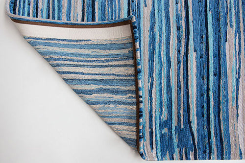 Louis de Poortere Atlantic Ocean Blue Stripes Rug