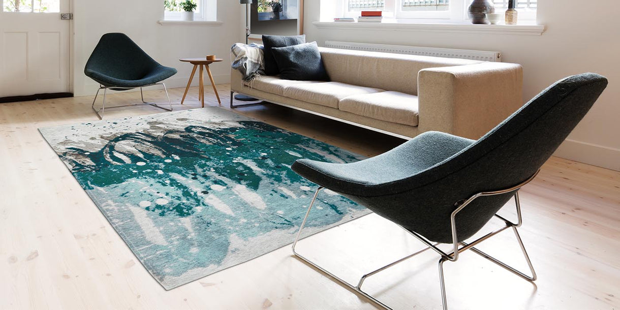 Louis de Poortere Atlantic Ocean Green Waves Rug