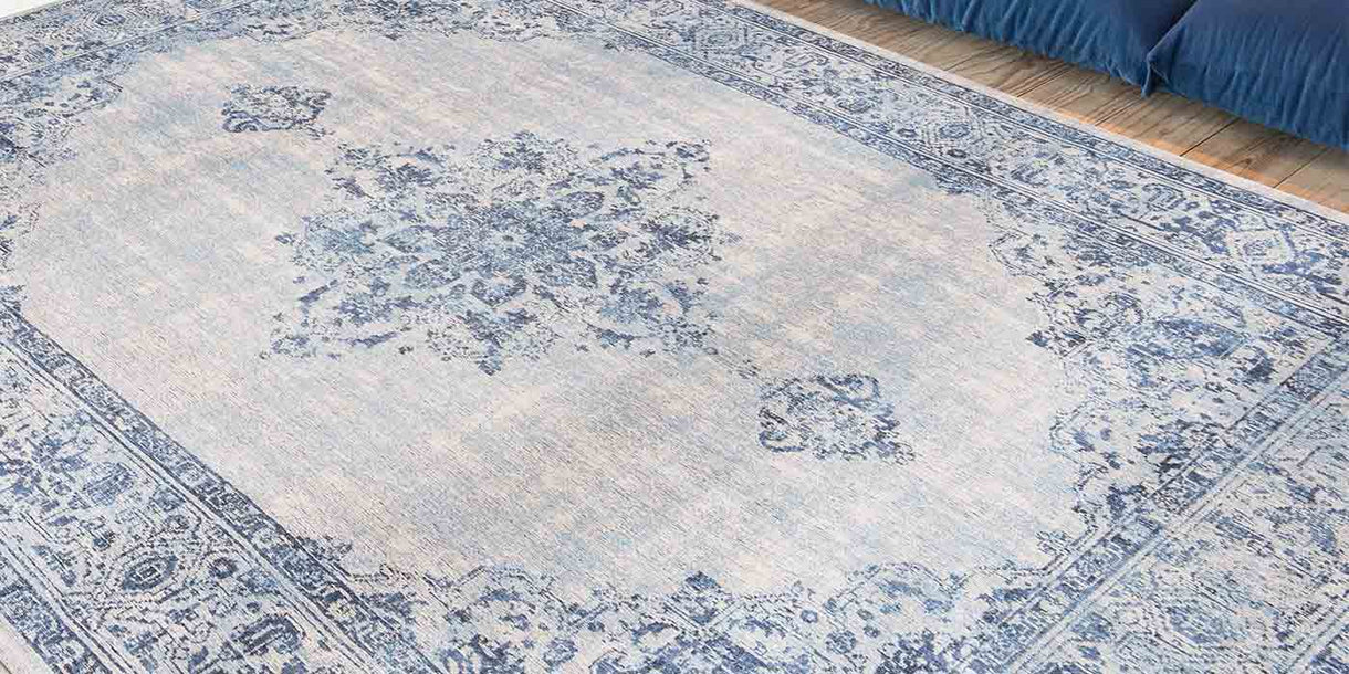 Louis de Poortere Khayma Fairfield Blue Border Rug
