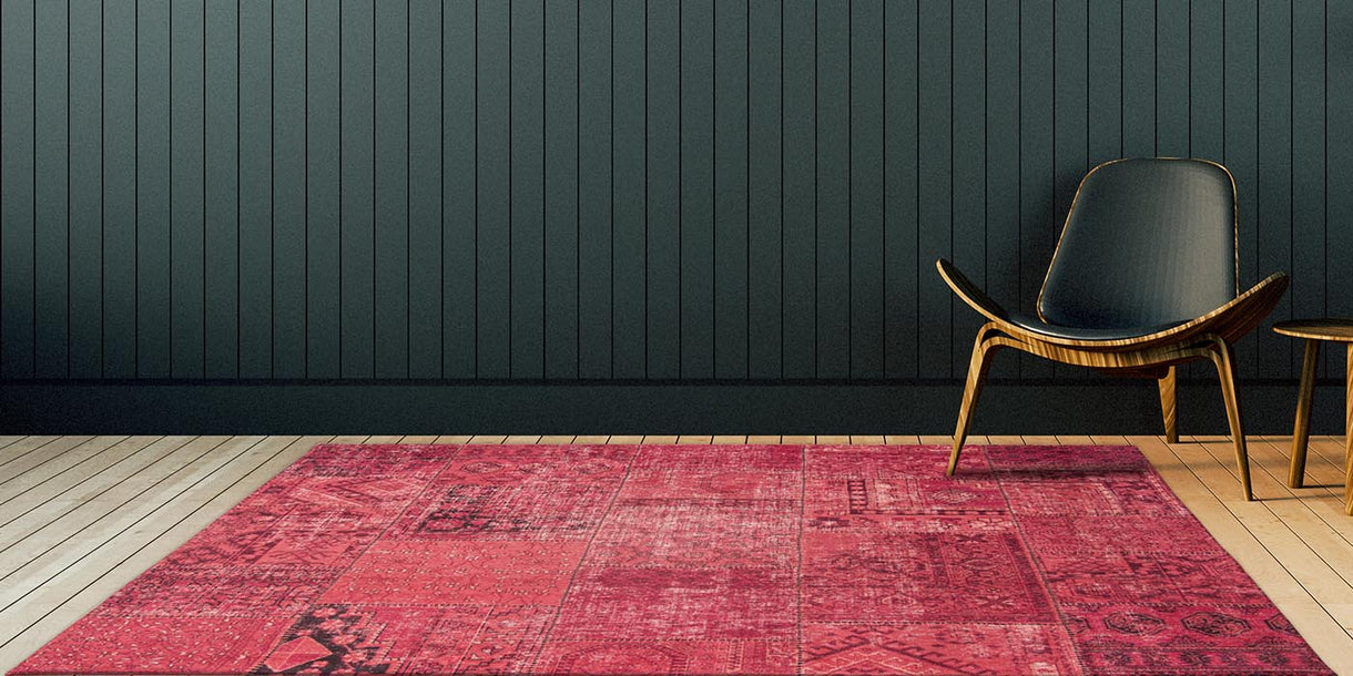 Louis de Poortere Khayma Farrago Mirage Red Rug and Chair
