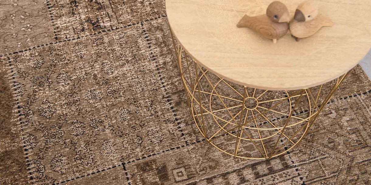 Louis de Poortere Khayma Farrago Dust Road Rug with Coffee Table