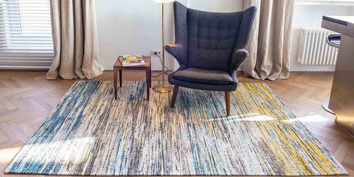 Louis de Poortere Sari Blue and Yellow Mix Rug in Room