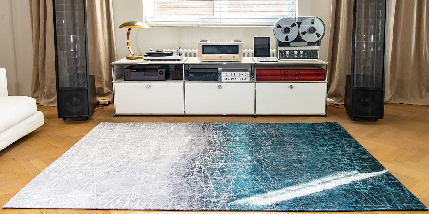 Louis de Poortere Mad Men Polar Vortex Blue Rug in Room