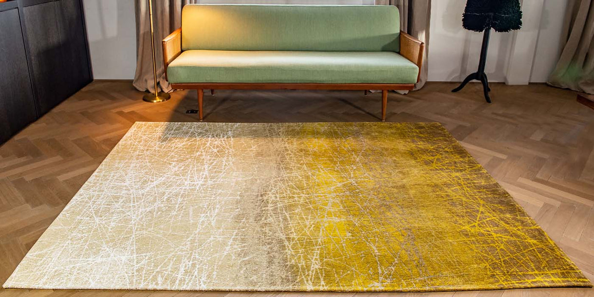 Louis de Poortere Fahrenheit New York Yellow Rug in Room