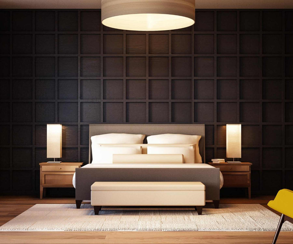 Hotel bedroom with dark panelled wall bed with bedside tables