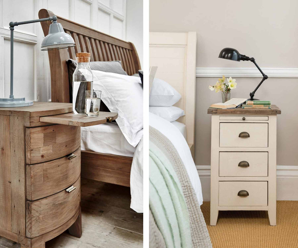 Rustic bedside table with extending tray and white bedside table with lamp