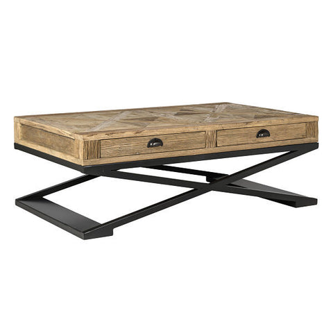 Industrial Coffee table elm with storage drawers