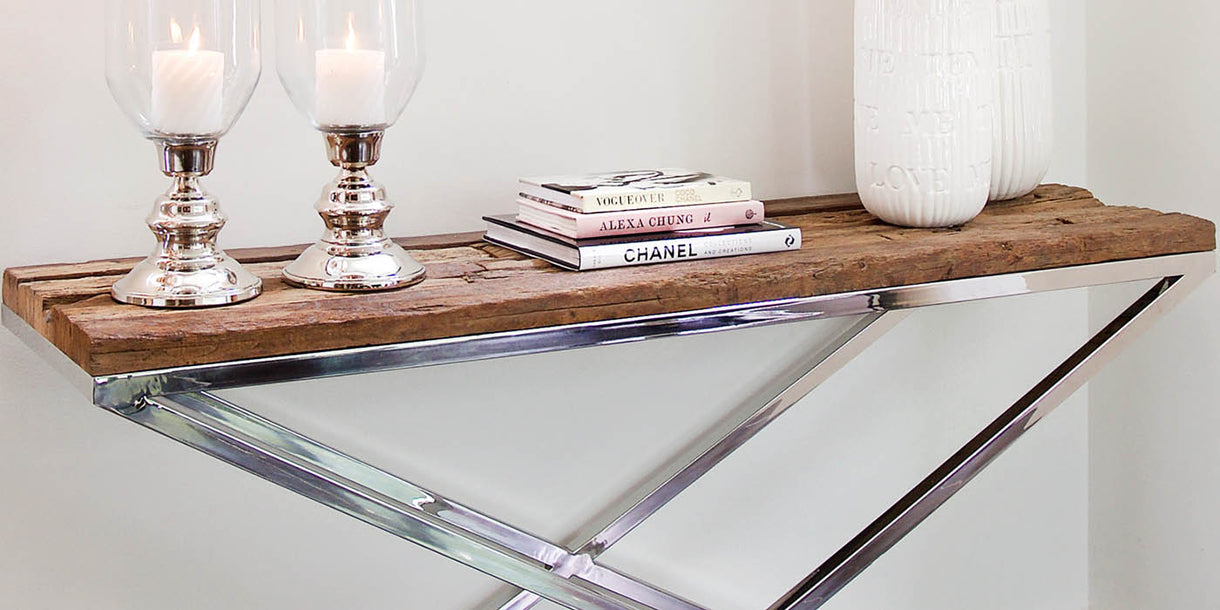 Luxe Kensington Reclaimed Wood Console Table close up