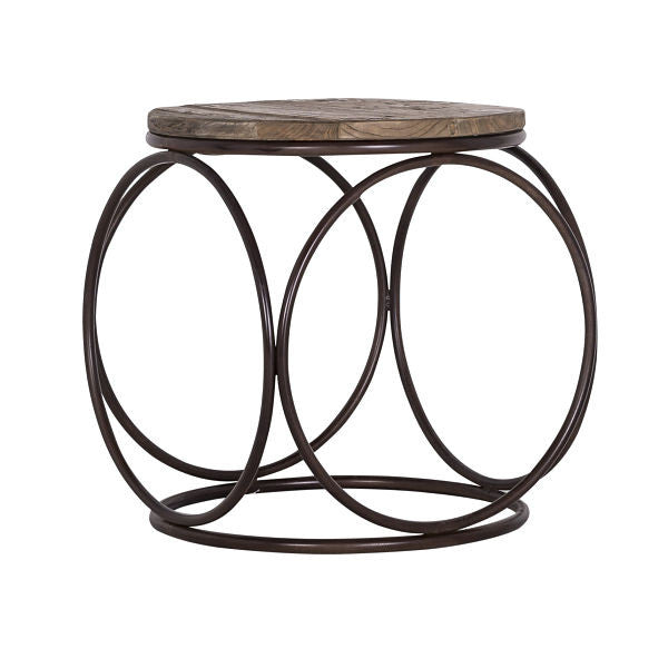 Luxe Elm Industrial Reclaimed Wood Round Coffee Table