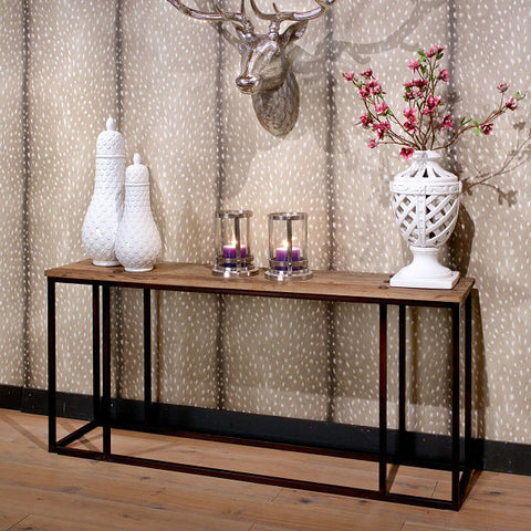 Luxe Elm Industrial Reclaimed Wood Console Table in Hallway