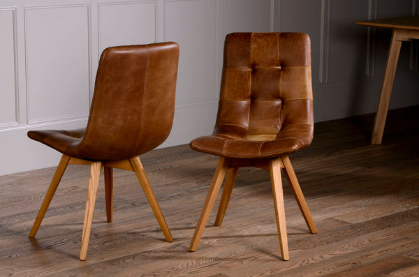 Allegro Brown Cerato Leather Dining Chairs