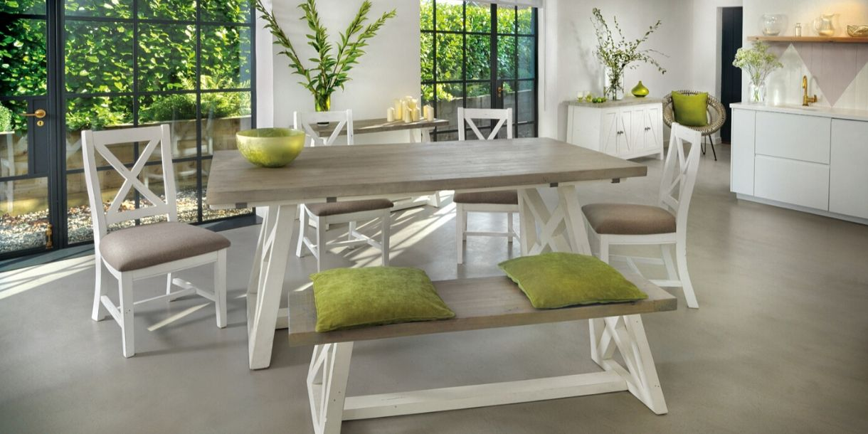 Reclaimed Wood Dining room furniture painted white
