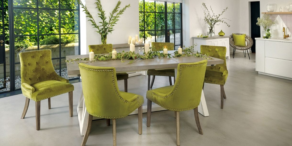 Green Velvet Dining Room Chairs in Dining Room