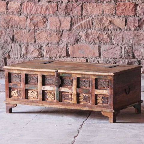 Aimee Reclaimed Boat Wood Trunk Coffee Table and Storage