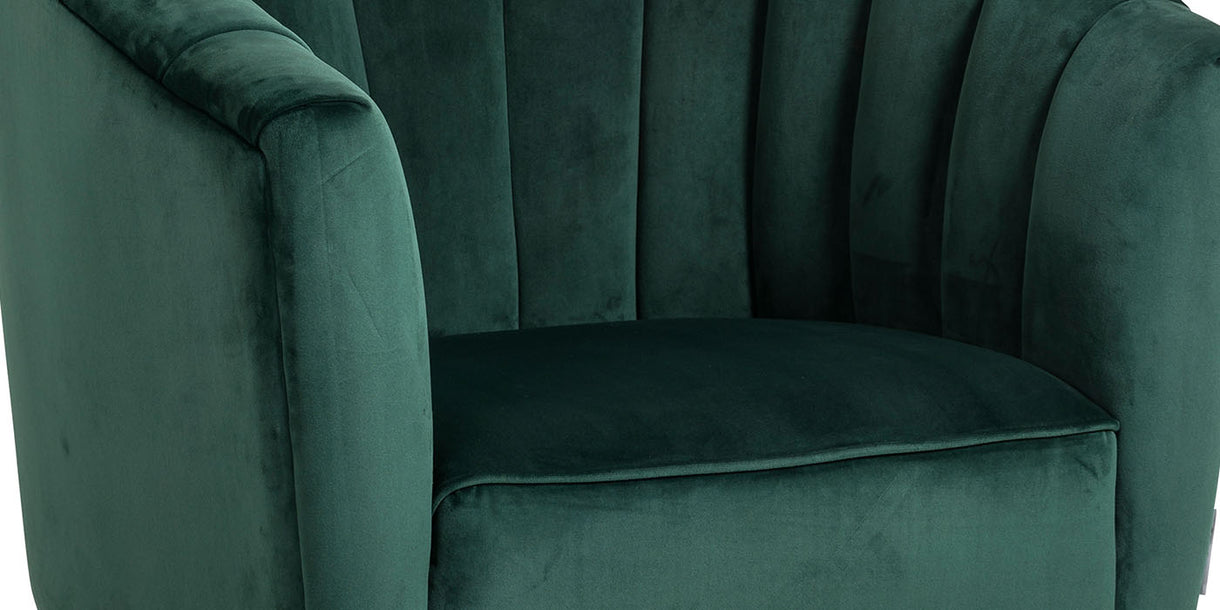 Close up of Alexandra Green Velvet Armchair with Curved Back